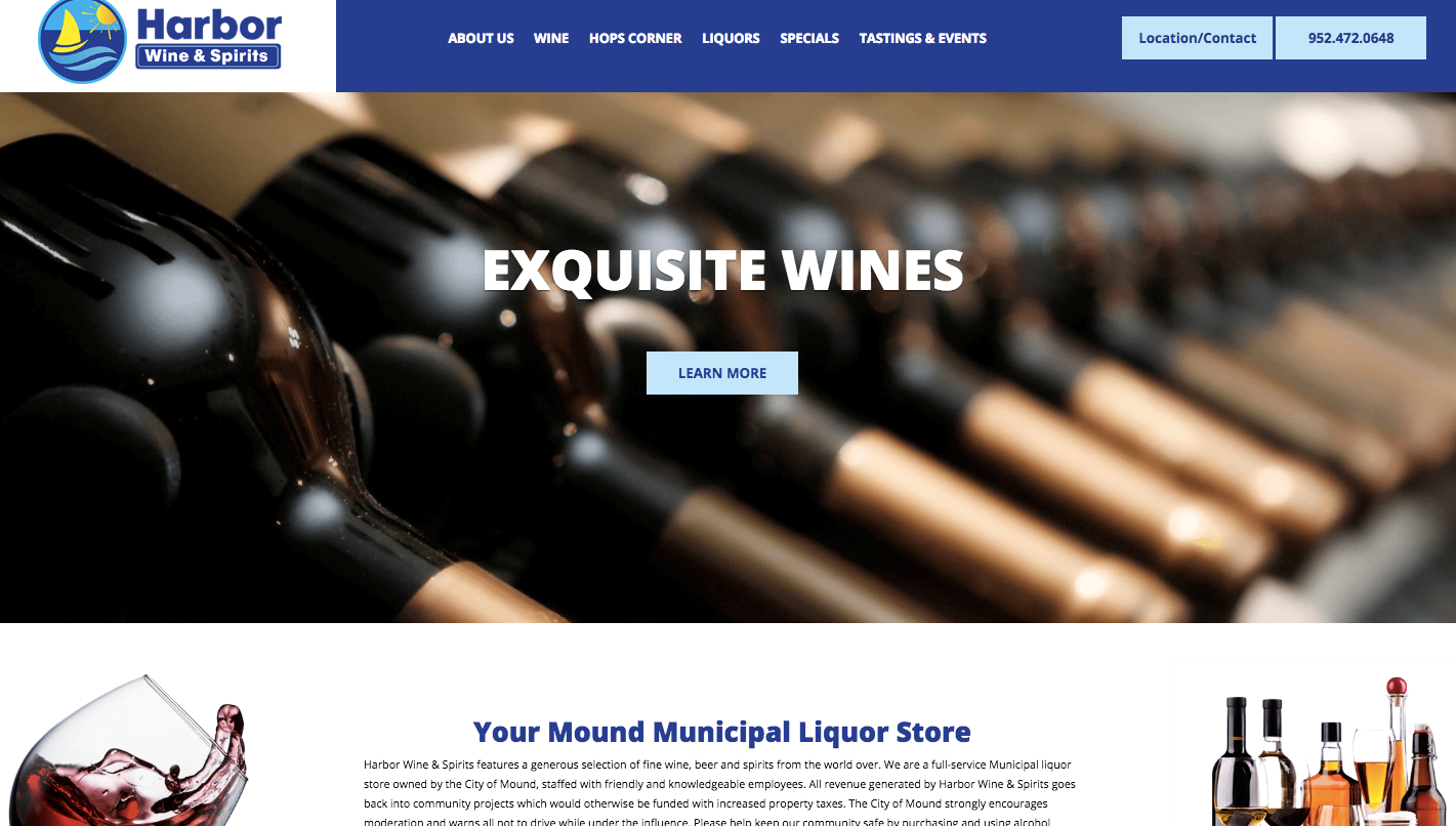 New Website, Harbor Wine & Spirits, Mound, MN